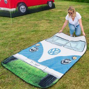 Blue VW Camper Van Quilted Picnic Rug