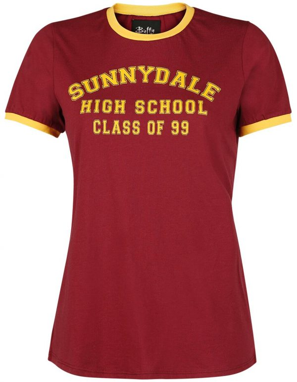 Buffy The Vampire Slayer Sunnydale High School T-Shirt red yellow