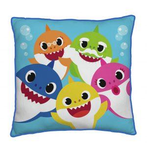 Baby Shark Family Square Cushion – Multicoloured – 40x40cm