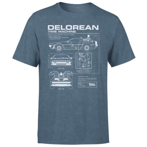 Back To The Future Delorean Men's T-Shirt - Navy Acid Wash - S