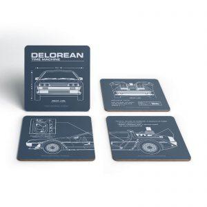 Back To The Future Delorean Schematic Coaster Set