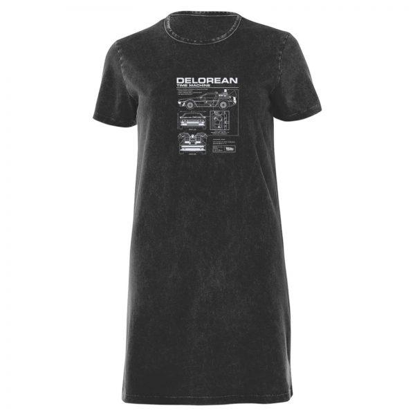 Back To The Future Delorian Women's T-Shirt Dress - Black Acid Wash - XS - Black Acid Wash