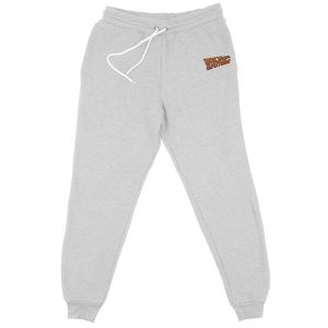 Back To The Future Logo Embroidered Unisex Joggers – Grey – S