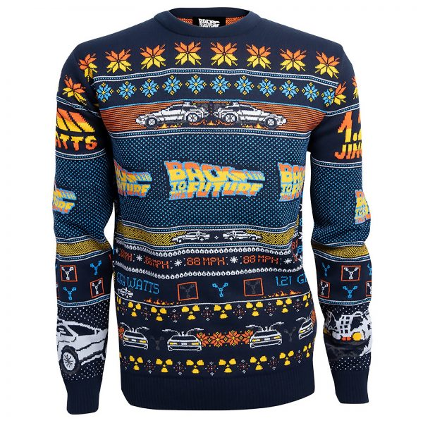 Back to the Future Christmas Knitted Jumper - Navy - XS