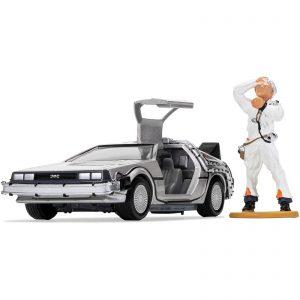 Back To The Future DeLorean And Doc Brown Figure Model Set – Scale 1:36