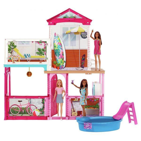 Barbie Estate Dolls House and 3 Dolls