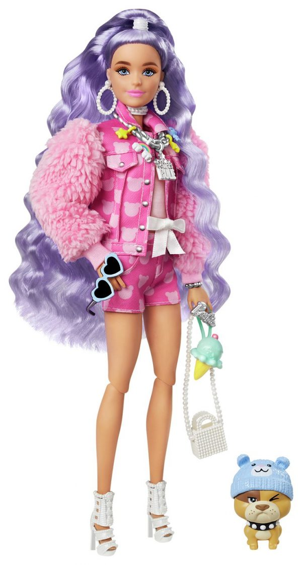 Barbie Extra Doll with Periwinkle Hair and Pet Bulldog