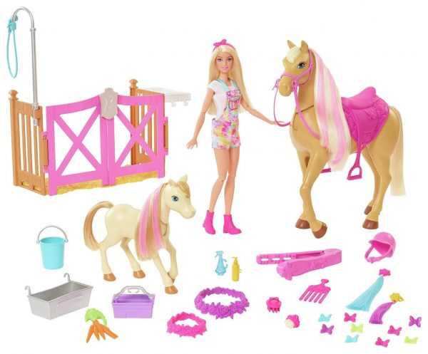 Barbie Groom 'n Care Playset with Doll and Horse Figures