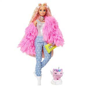 Barbie Xtra Fluffy Pink Jacket Doll 3