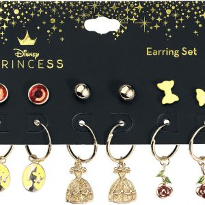 Beauty And The Beast Charms Earrings Gold Coloured