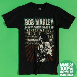 Black Bob Marley Hammersmith '76 Recycled Eco T-Shirt