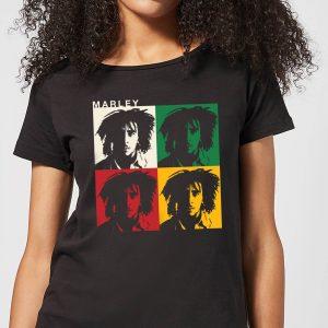Bob Marley Faces Women's T-Shirt – Black – S – Black