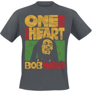 Bob Marley One Love One Heart T-Shirt Charcoal