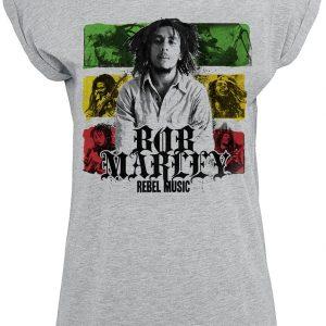 Bob Marley Rebel Music Stripes T-Shirt Heather Grey