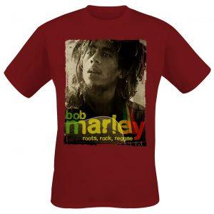 Bob Marley Root Rock Raggae T-Shirt Dark Red