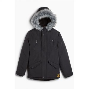 Boys Faux Fur Borg Lined Hooded Gamer Parka Jacket