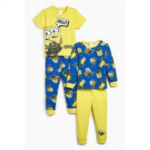 Boys Minions Pack Of 2 Yellow/Blue Pyjamas