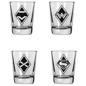 DC Comics DC Universe Shot Glasses Set Of 4 Batman Vs Superman Logos