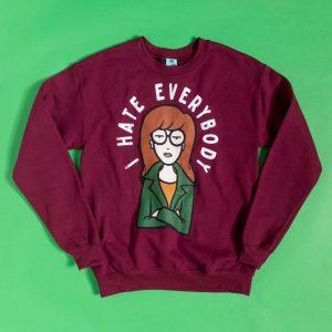 Daria I Hate Everybody Maroon Sweater