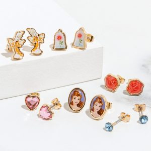 Disney Set Of Six Beauty And The Beast Stud Earrings