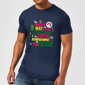 Elf Christmas Cheer Men's Christmas T-Shirt – Navy – S – Navy