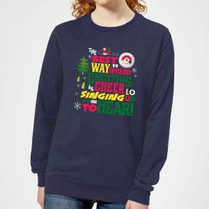 Elf Christmas Cheer Women's Christmas Sweatshirt – Navy – XS