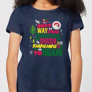 Elf Christmas Cheer Women's Christmas T-Shirt – Navy – S – Navy