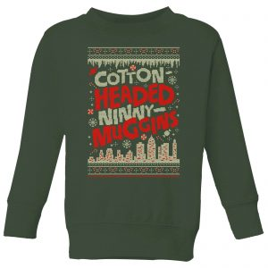 Elf Cotton-Headed-Ninny-Muggins Knit Kids' Christmas Sweatshirt – Forest Green – 3-4 Years