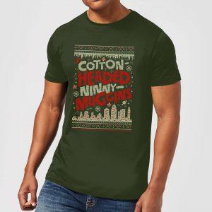 Elf Cotton-Headed-Ninny-Muggins Knit Men's Christmas T-Shirt – Forest Green – S
