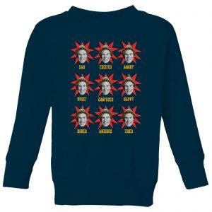 Elf Faces Kids' Christmas Sweatshirt – Navy – 9-10 Years – Navy