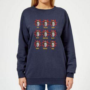 Elf Faces Women's Christmas Sweatshirt – Navy – XS – Navy