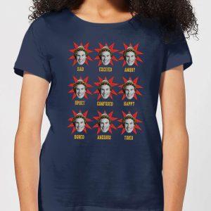 Elf Faces Women's Christmas T-Shirt – Navy – S – Navy