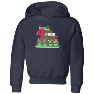 Elf Food Groups Kids' Christmas Hoodie – Navy – 3-4 Years – Navy