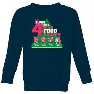 Elf Food Groups Kids' Christmas Sweatshirt – Navy – 9-10 Years – Navy