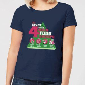 Elf Food Groups Women's Christmas T-Shirt – Navy – S – Navy