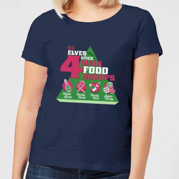 Elf Food Groups Women's Christmas T-Shirt - Navy - S - Navy