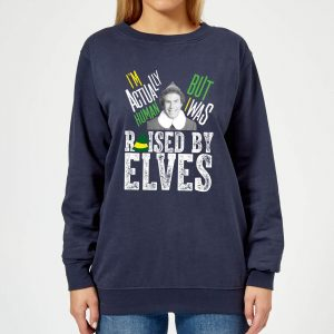 Elf Raised By Elves Women's Christmas Sweatshirt – Navy – XS