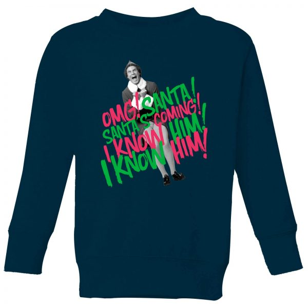 Elf Santa! I Know Him! Kids' Christmas Sweatshirt - Navy - 9-10 Years