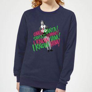 Elf Santa! I Know Him! Women's Christmas Sweatshirt – Navy – XS