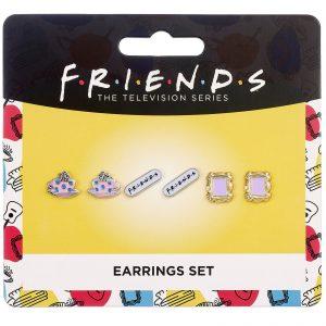 Friends Set Of 3 Earring Studs – Frame, Coffee Cup & Friends Logo