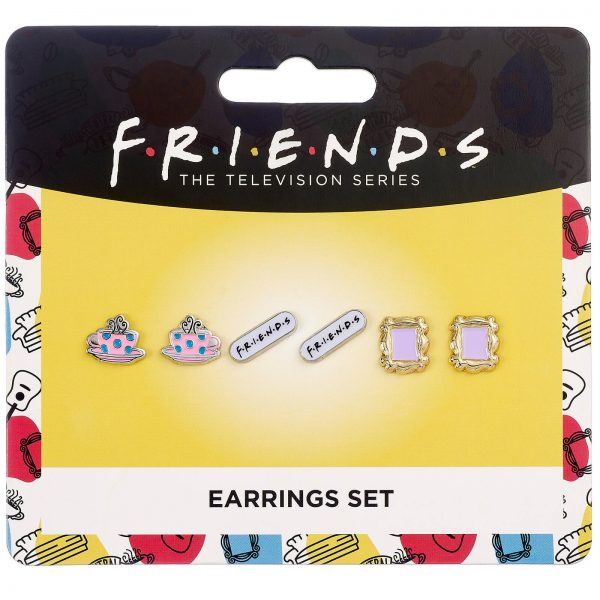 Friends Set of 3 Earring Studs - Frame, Coffee Cup & Friends Logo