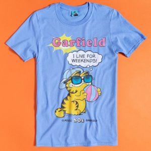 Garfield I Live For Weekends Blue T-Shirt