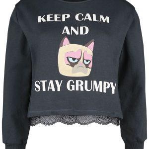 Grumpy Cat Keep Calm And Stay Grumpy Sweatshirt Mottled Grey
