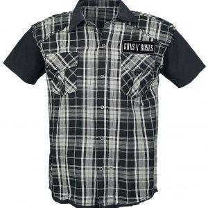 Guns N' Roses Top Hat Skull Short-sleeved Shirt Black Grey