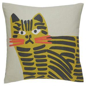 Habitat Grumpy Cat Print Cushion – Grey & Yellow – 45x45cm