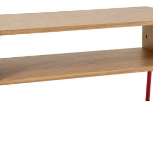 Habitat Kirby TV Stand – Oak With Red Metal Legs