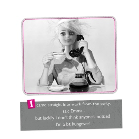 Hungover At Work Barbie Doll Card