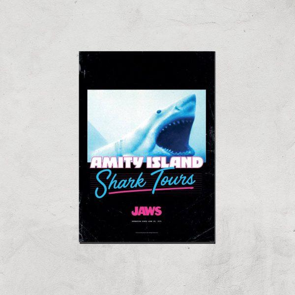 Jaws Amity Island Shark Tours Giclee Art Print - A4 - Print Only