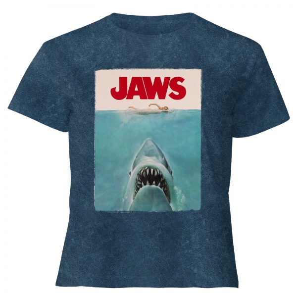 Jaws Classic Poster - Women's Cropped T-Shirt - Navy Acid Wash - XS - Navy Acid Wash