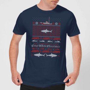Jaws Great White Christmas Men's T-Shirt – Navy – XS – Navy